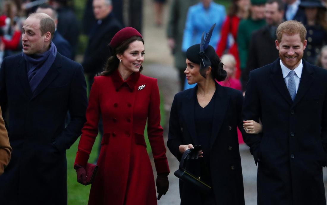Princ William in vojvodinja Kate ter vojvodinja Meghan in princ Harry. Foto: Reuters